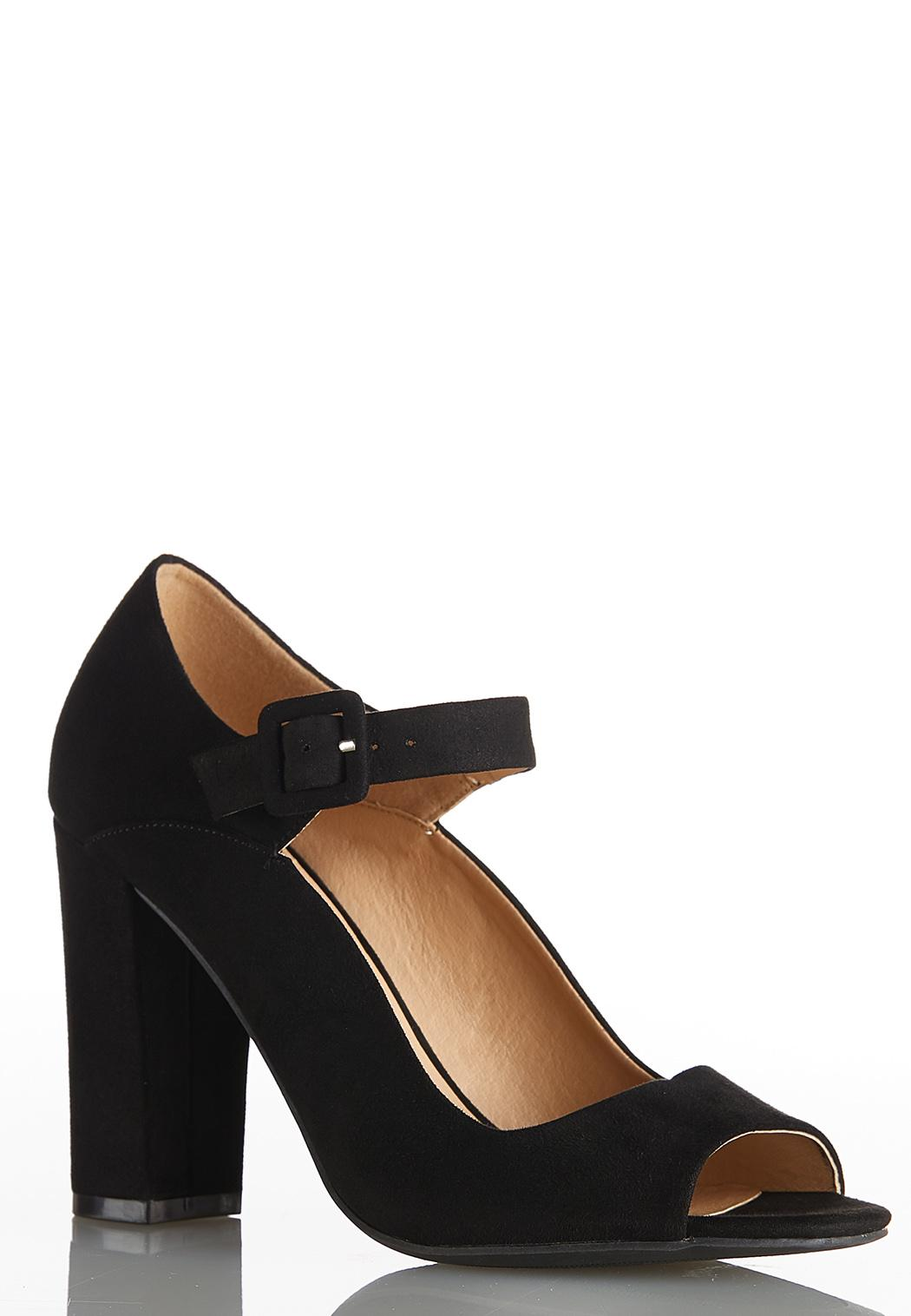 Wide Width Peep Toe Mary Jane Pumps