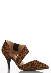 Asymmetric Leopard Pumps