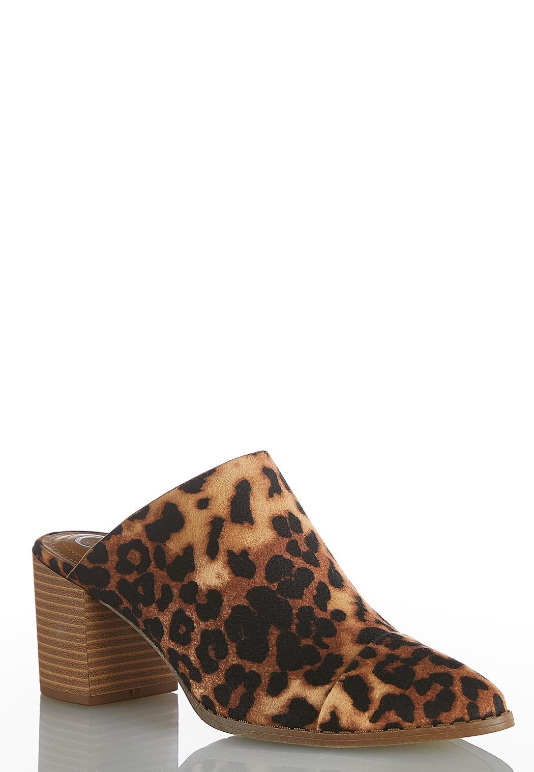 Leopard Block Heel Mules
