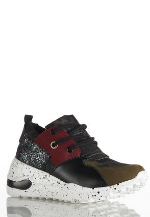 Mixed Media Wedge Sneakers