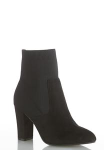 Stretch Shaft Faux Suede Boots
