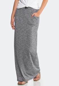 Plus Size Knit Maxi Skirt