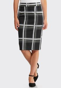 Plus Size Plaid Pencil Skirt