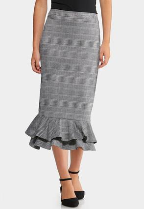 Plus Size Plaid Ruffle Skirt