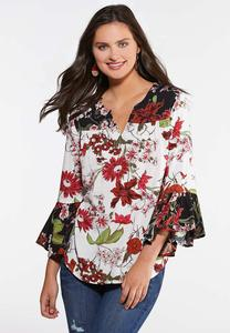 Plus Size Botanical Poet Top