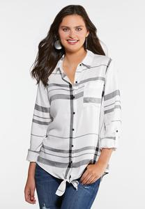 Plus Size Tied Plaid Top