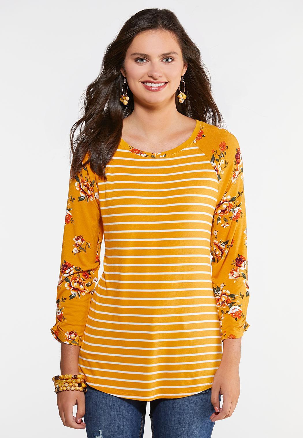 Plus Size Golden Floral Stripe Top