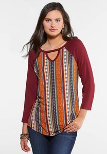 Plus Size Aztec Cutout Top