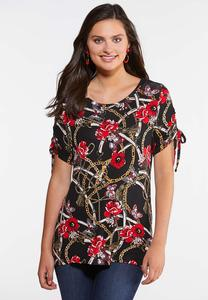 Plus Size Floral Status Ruched Tee