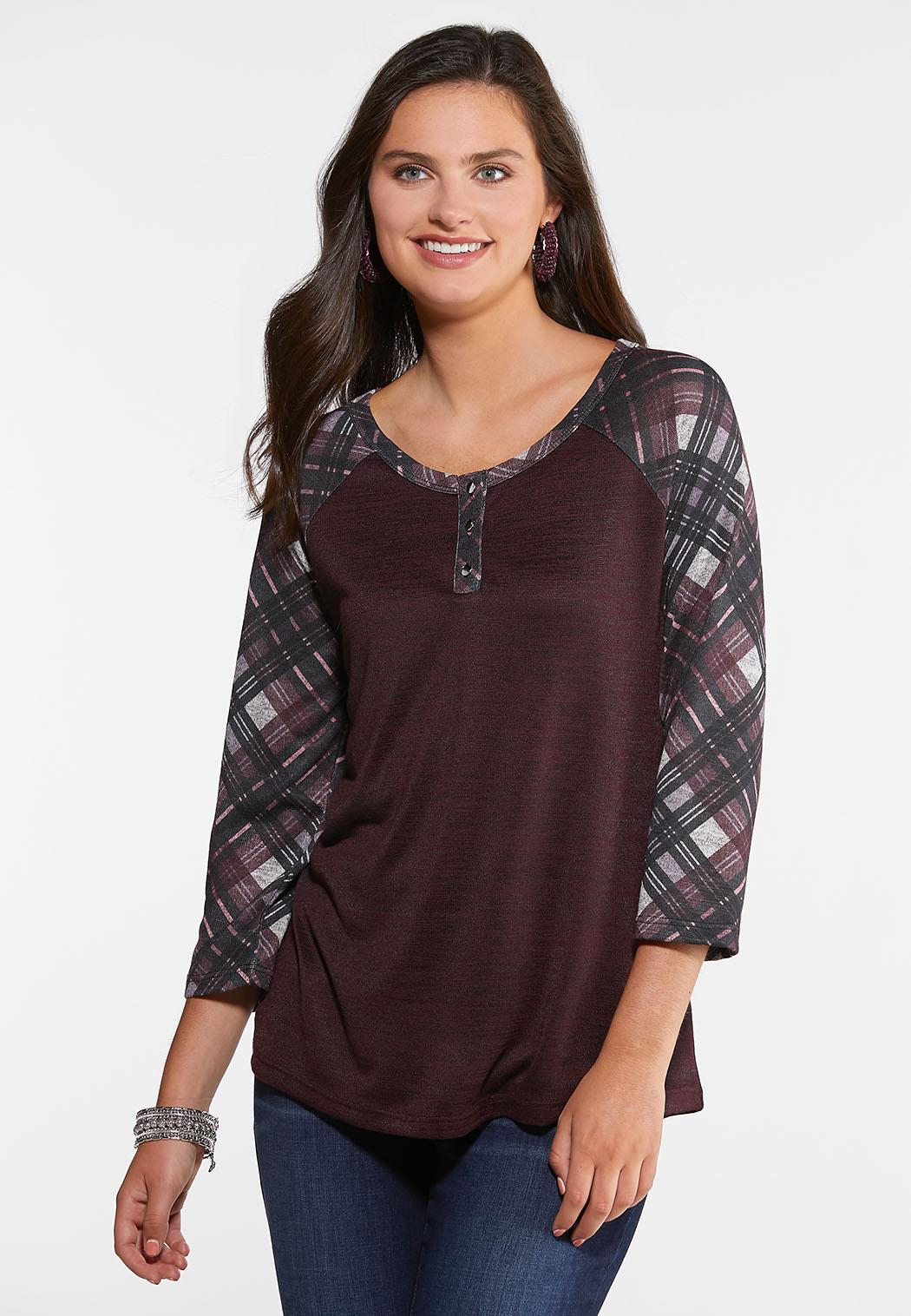 Plaid Henley Top