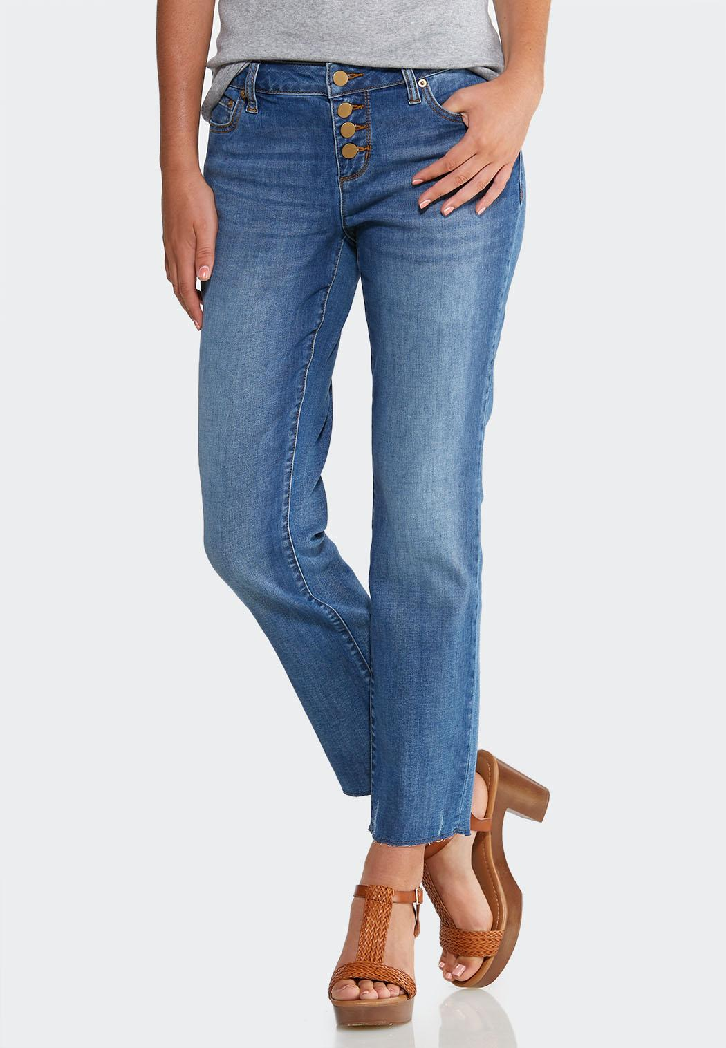 Buttonfly Raw Hem Jeans