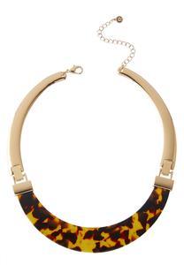 Tortoise Metal Choker Necklace