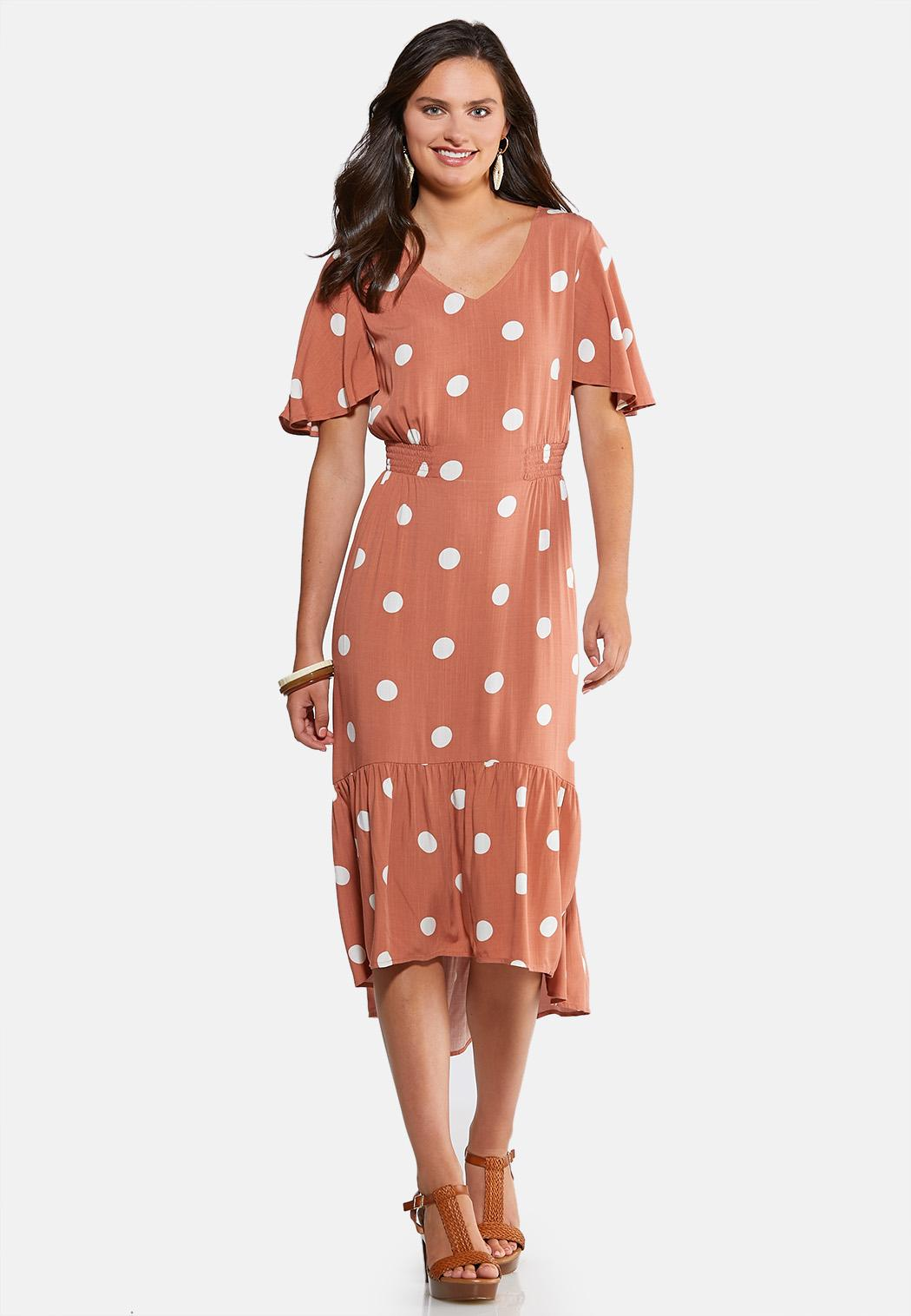 Plus Size Polka Dot Midi Dress Midi Cato Fashions