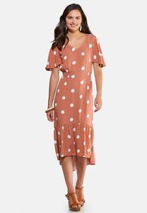 Plus Size Polka Dot Midi Dress