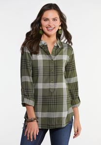 Plus Size Olive Plaid Shirt