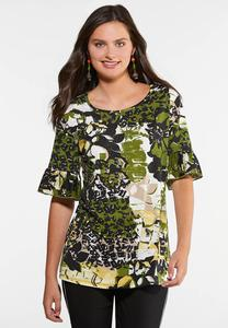 Plus Size Embellished Green Floral Top