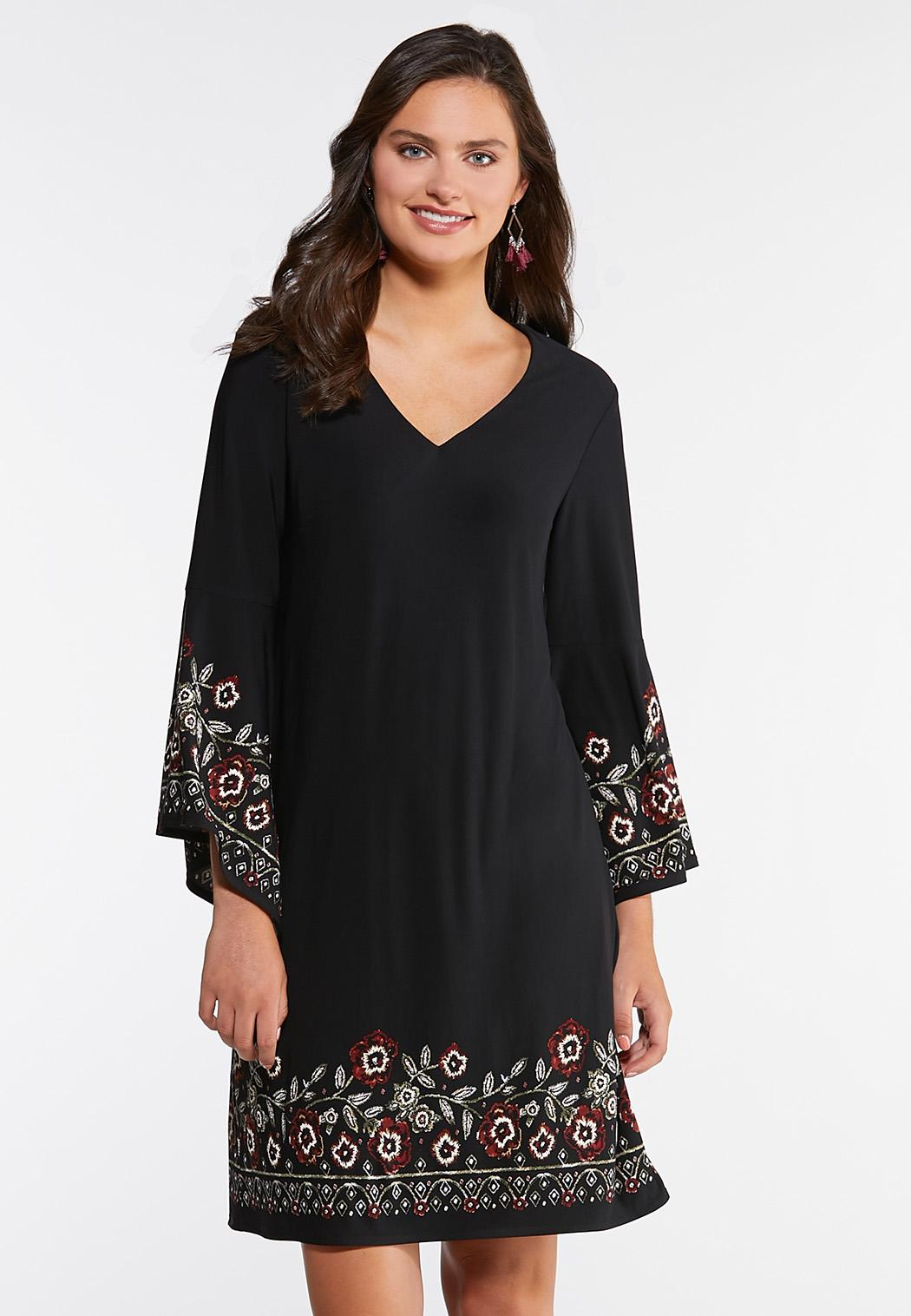 Plus Size Floral Puff Swing Dress A- Line & Amp ; Swing Cato Fashions