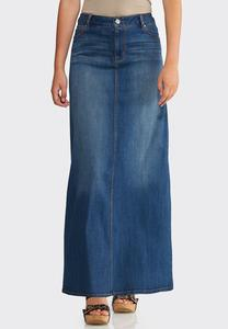 Plus Size Whiskered Denim Maxi Skirt
