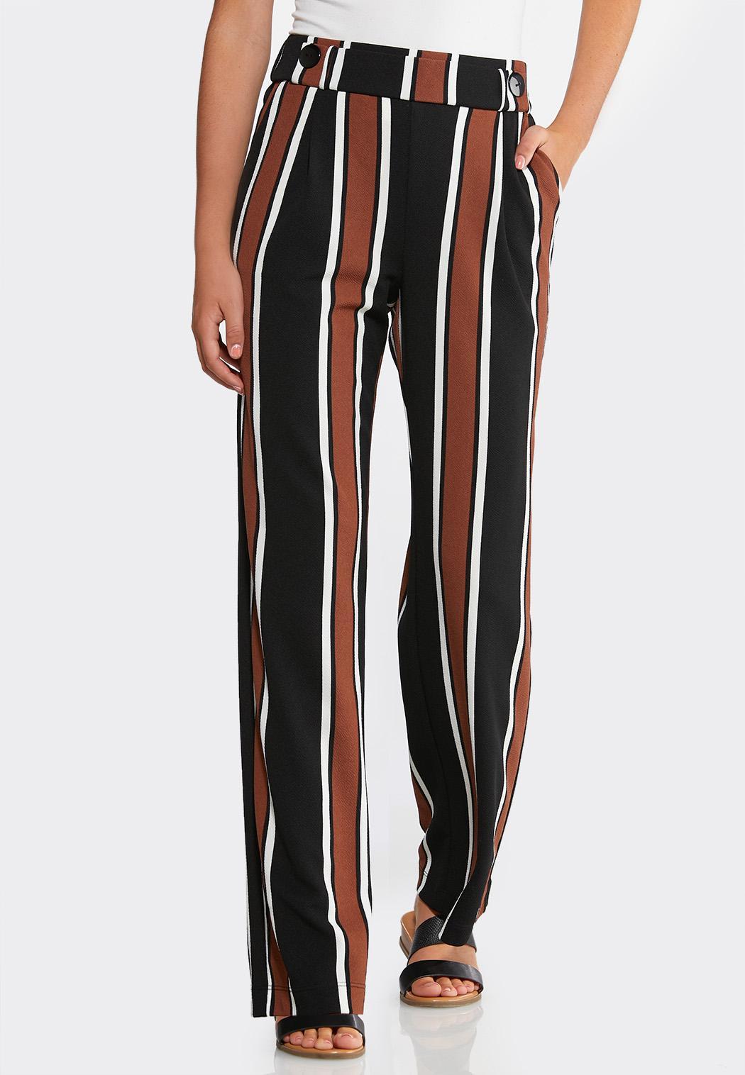 Striped Button Waist Pants