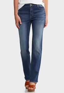 Petite Straight Leg Medium Wash Jeans