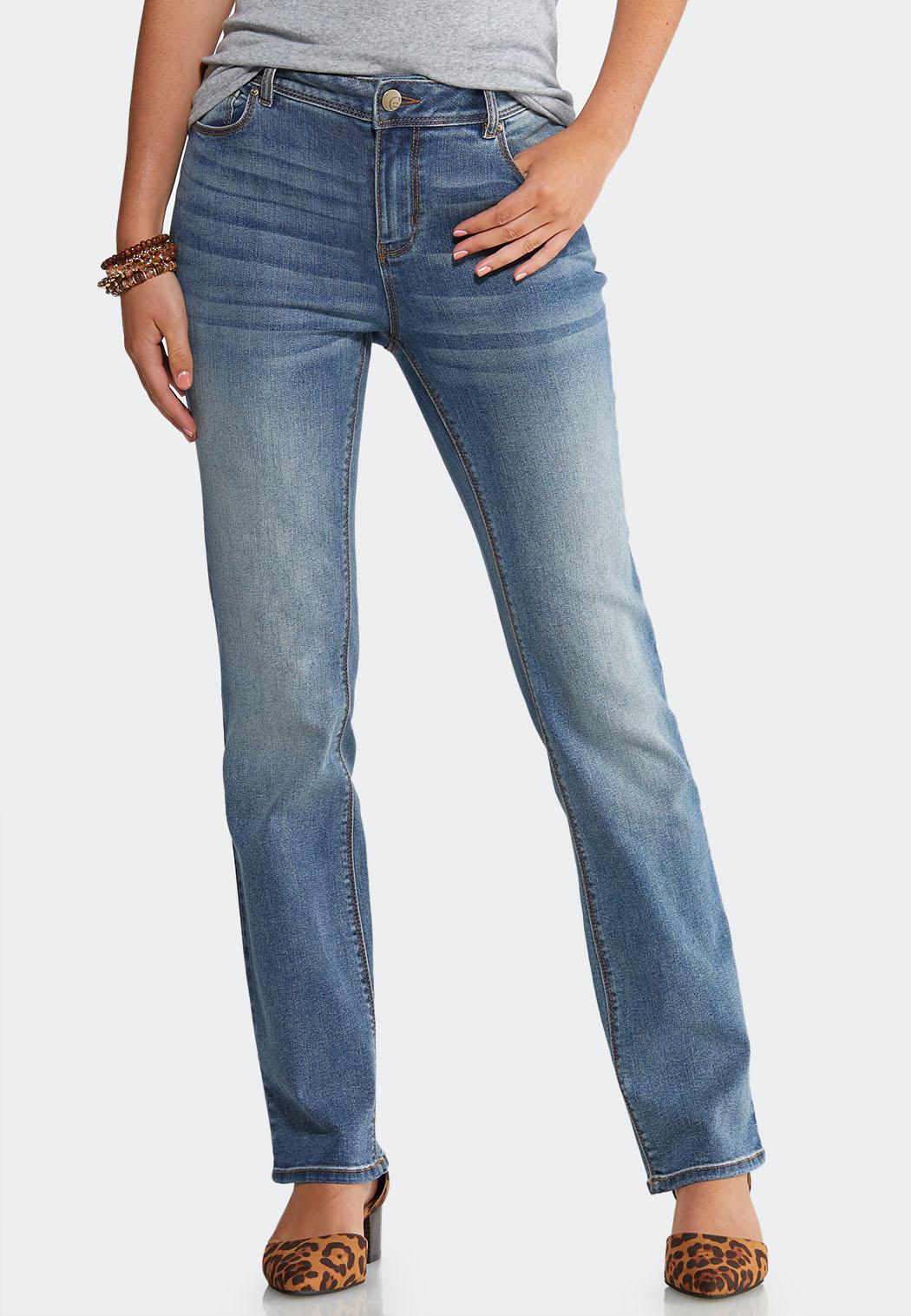 Medium Wash Straight Leg Jeans
