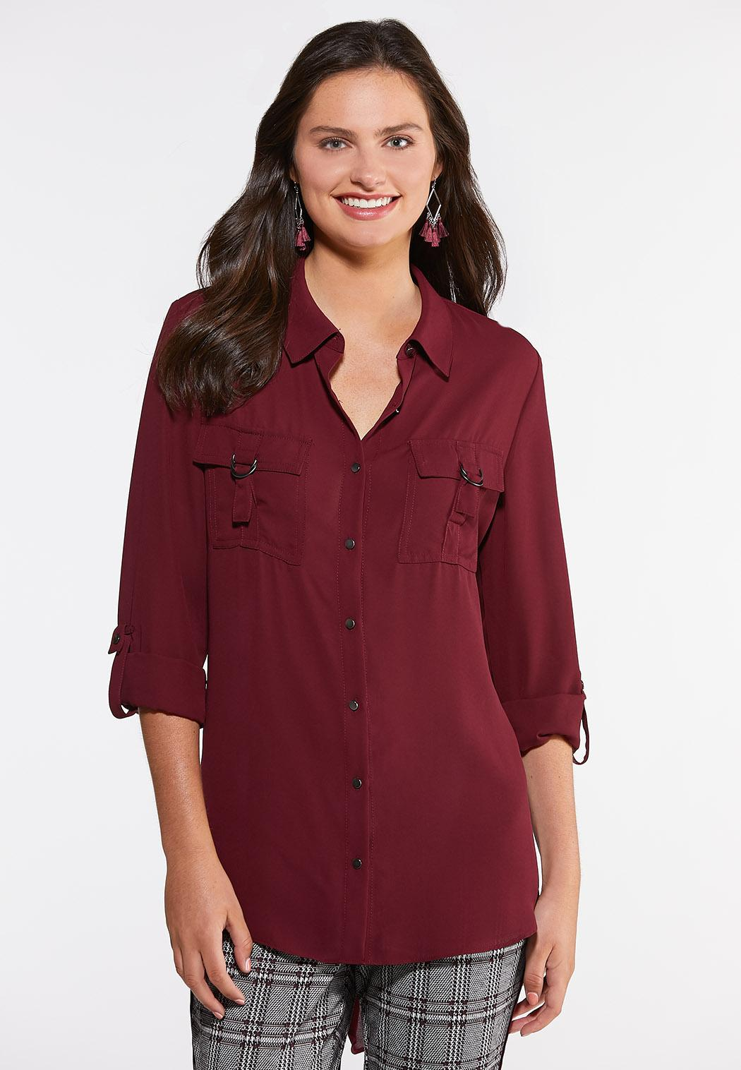 Plus Size Hardware Button Down Top