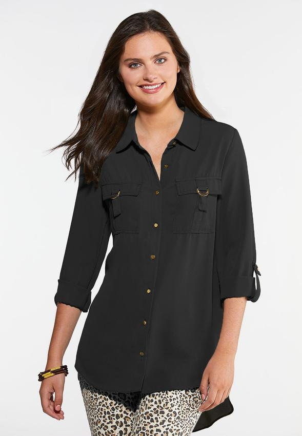 Plus Size Hardware Button Down Top Shirts & Amp ; Blouses Cato Fashions