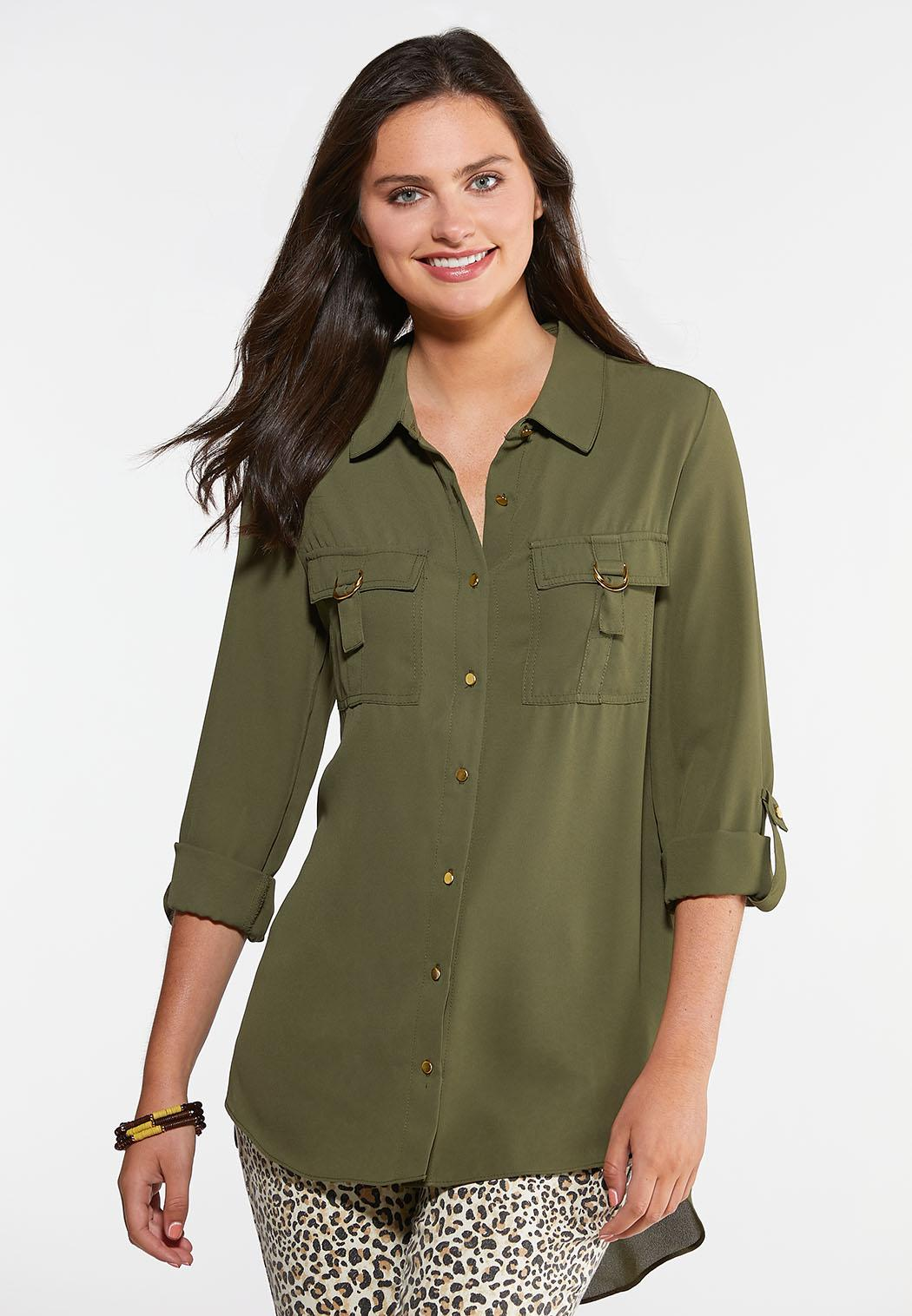 Hardware Button Down Top