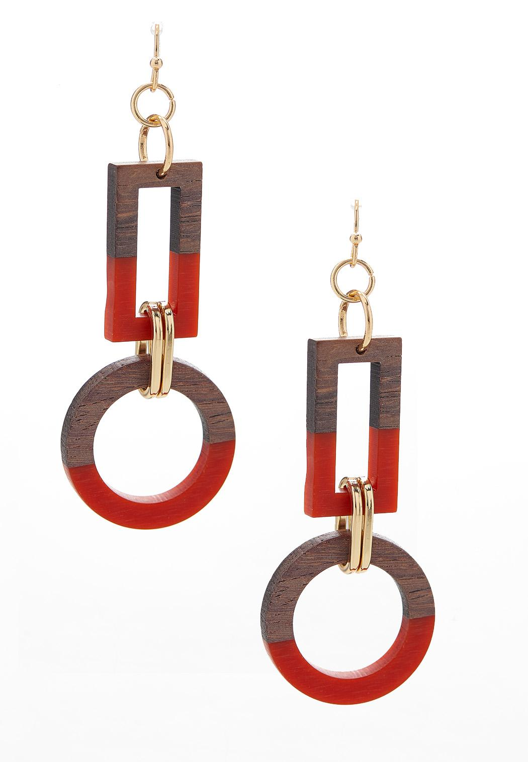 Geo Wood Resin Earrings