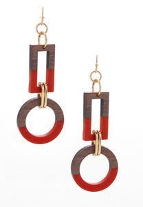 Geo Wood Resin Earrings
