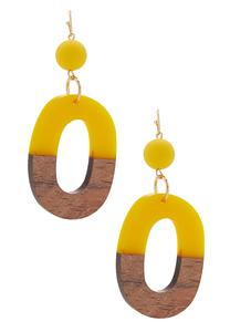 Resin Wood Oval Earrings