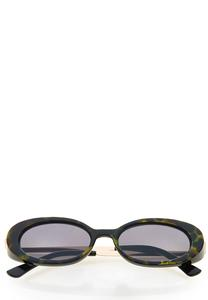 Green Tortoise Oval Sunglasses