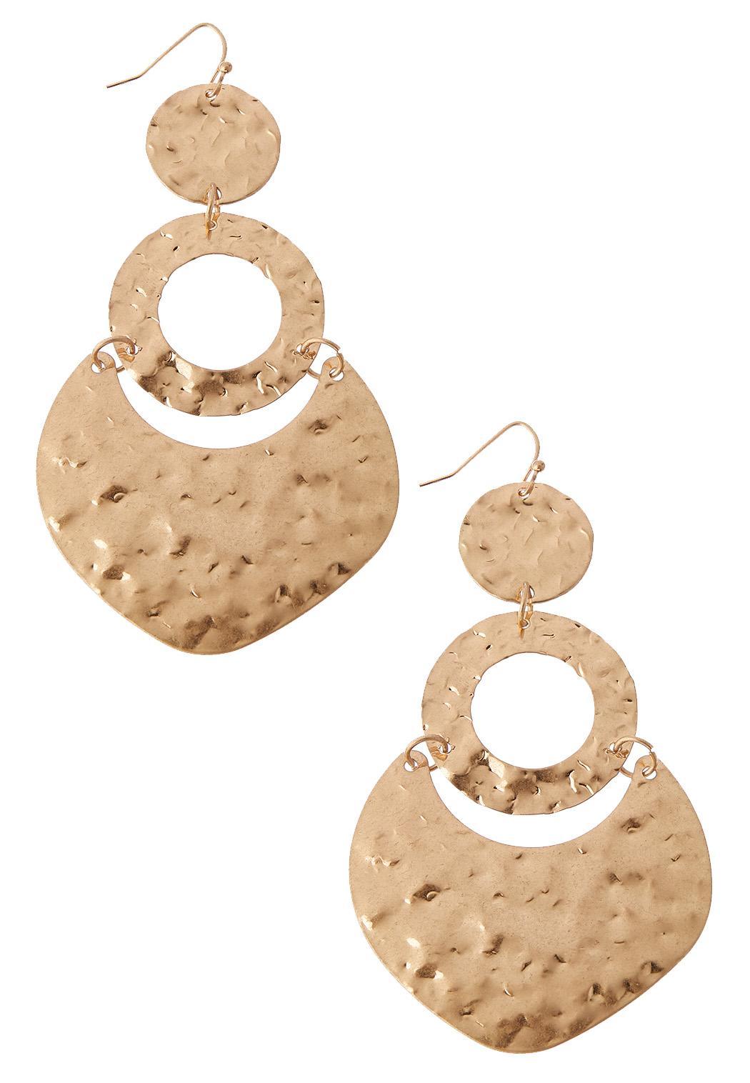 Hammered Metal Ring Earrings