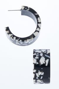 Marbled Lucite Hoop Earrings