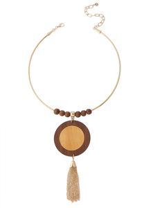 Wood Pendant Tassel Wire Necklace