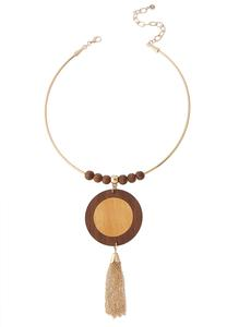 Wood Pendant Tassel Wire Necklace