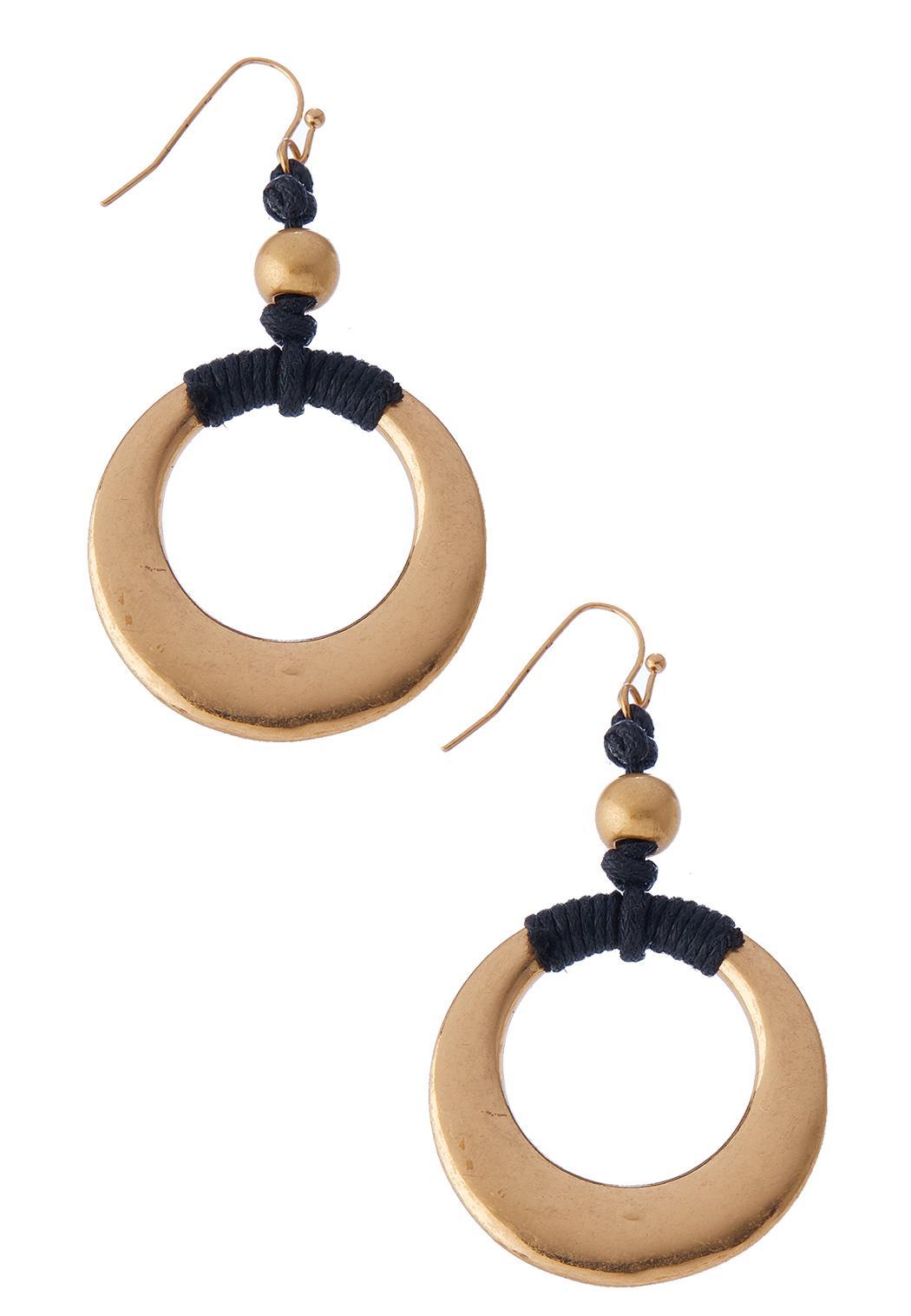 Gold Hoop Threaded Earrings