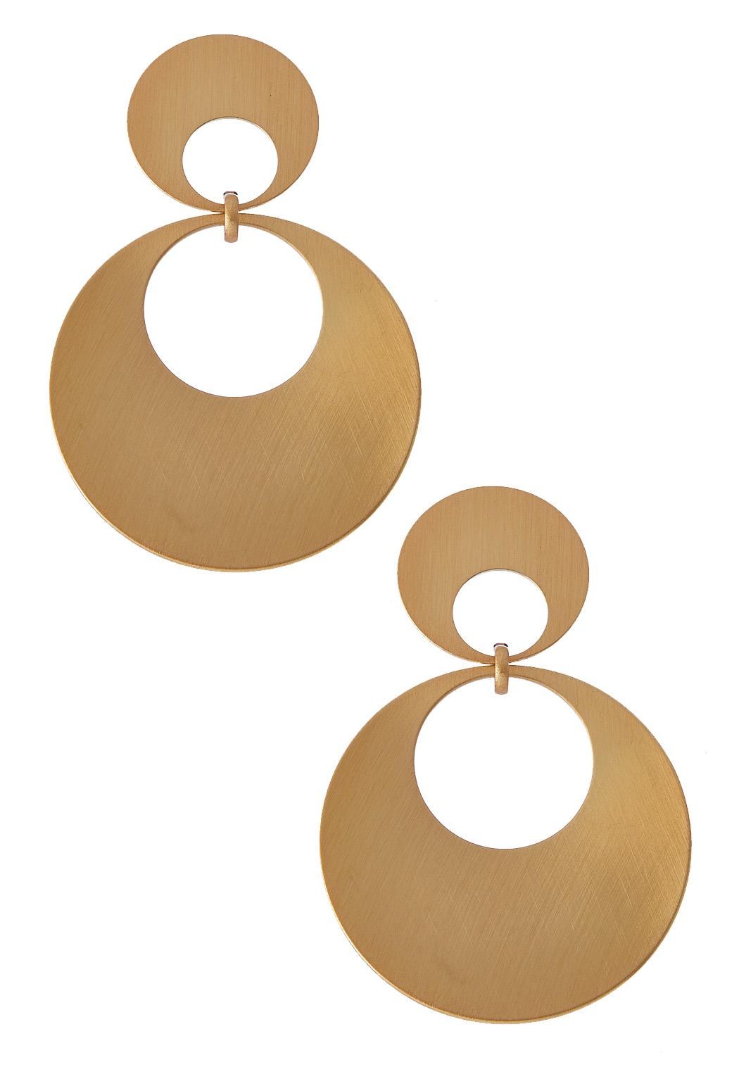 Brushed Gold Circle Earrings