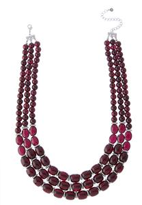 Layered Wine Bead Necklace