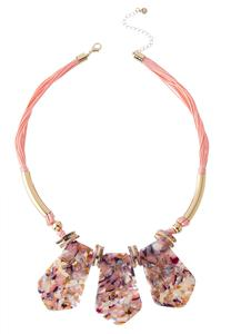 Marbled Lucite Cord Necklace