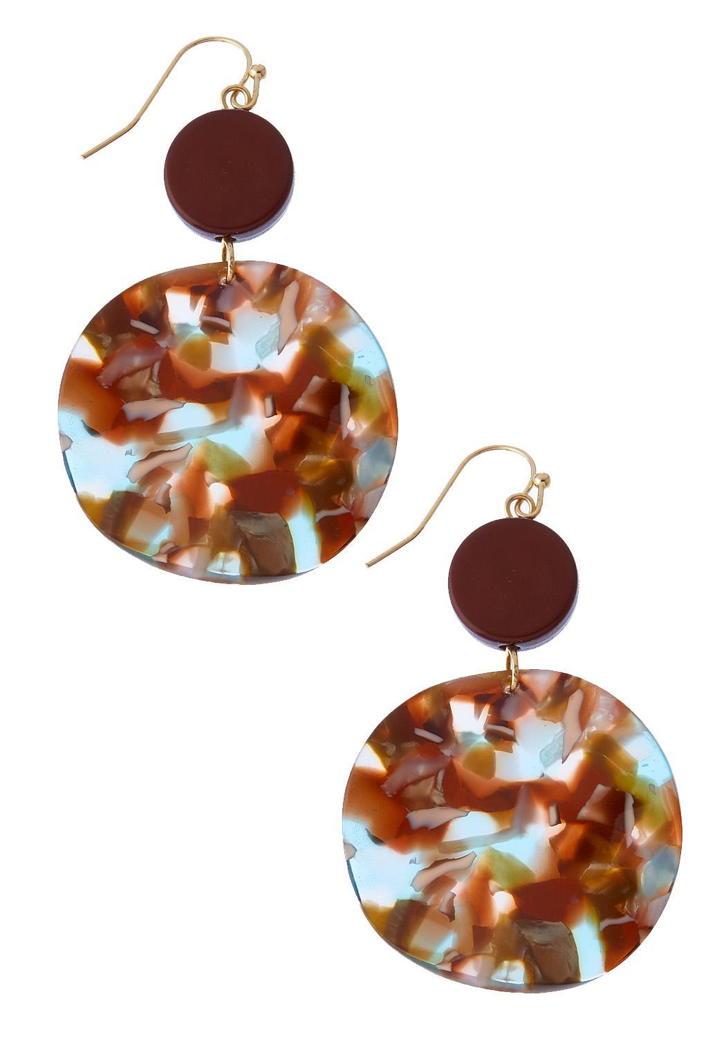 Brown Circle Resin Earrings