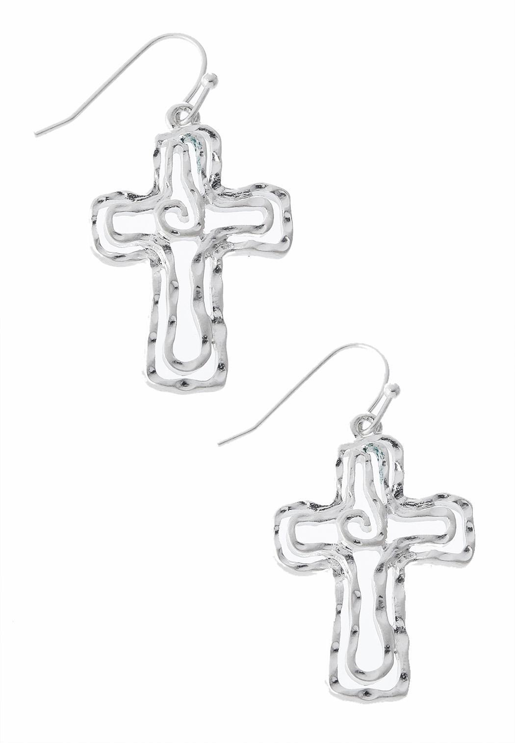 b2ee0a5971eac Cutout Cross Dangle Earrings Earrings Cato Fashions