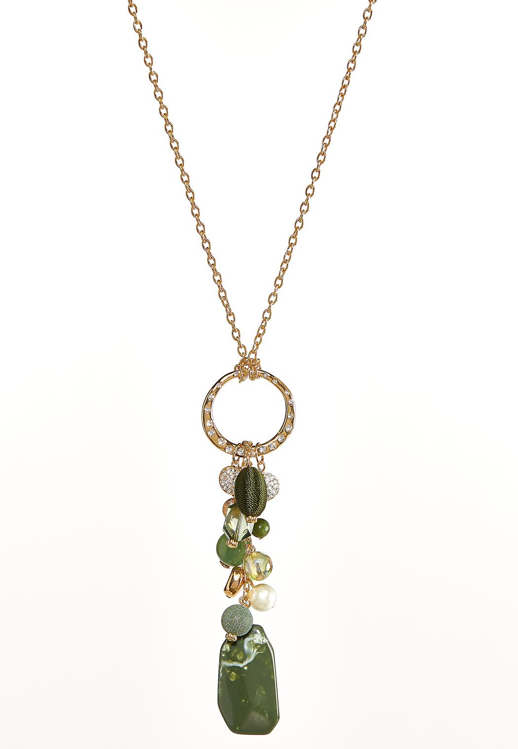 Cluster Stone Pendant Necklace