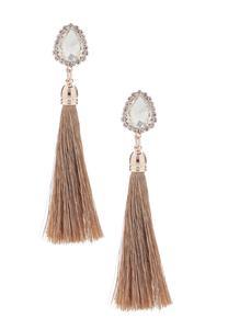 Rose Gold Stone Tassel Earrings