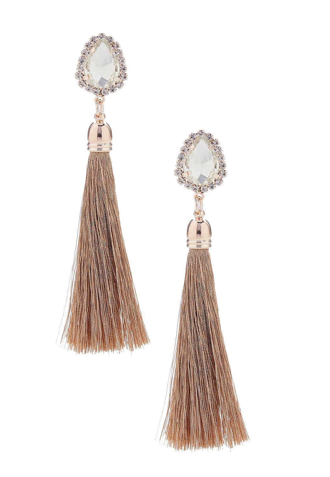 271acb1b Rose Gold Stone Tassel Earrings