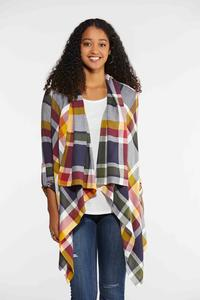 Plus Size Plaid Draped Jacket