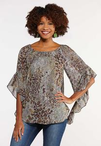 Plus Size Olive Leopard Print Top