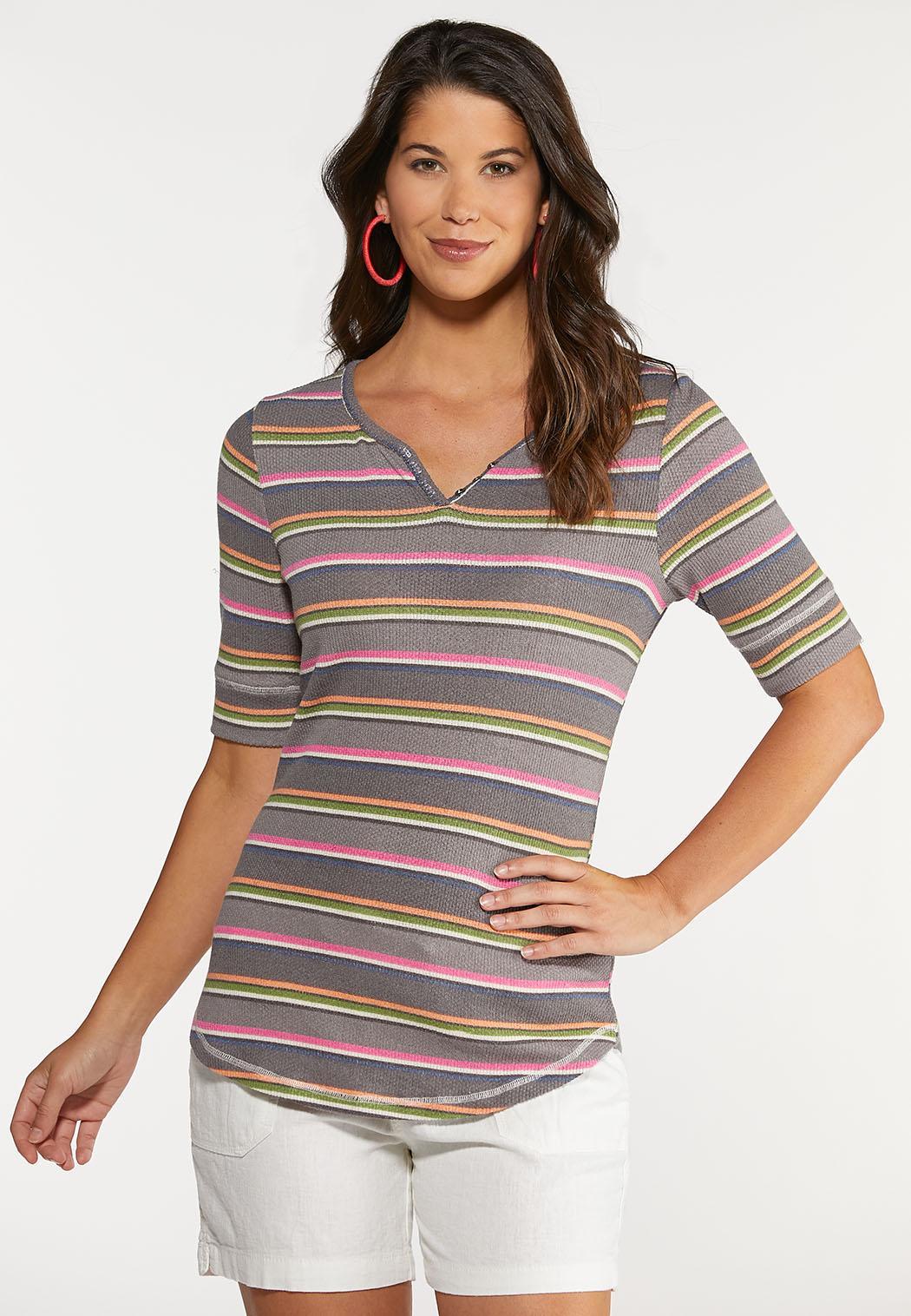 Multi Stripe Henley Top