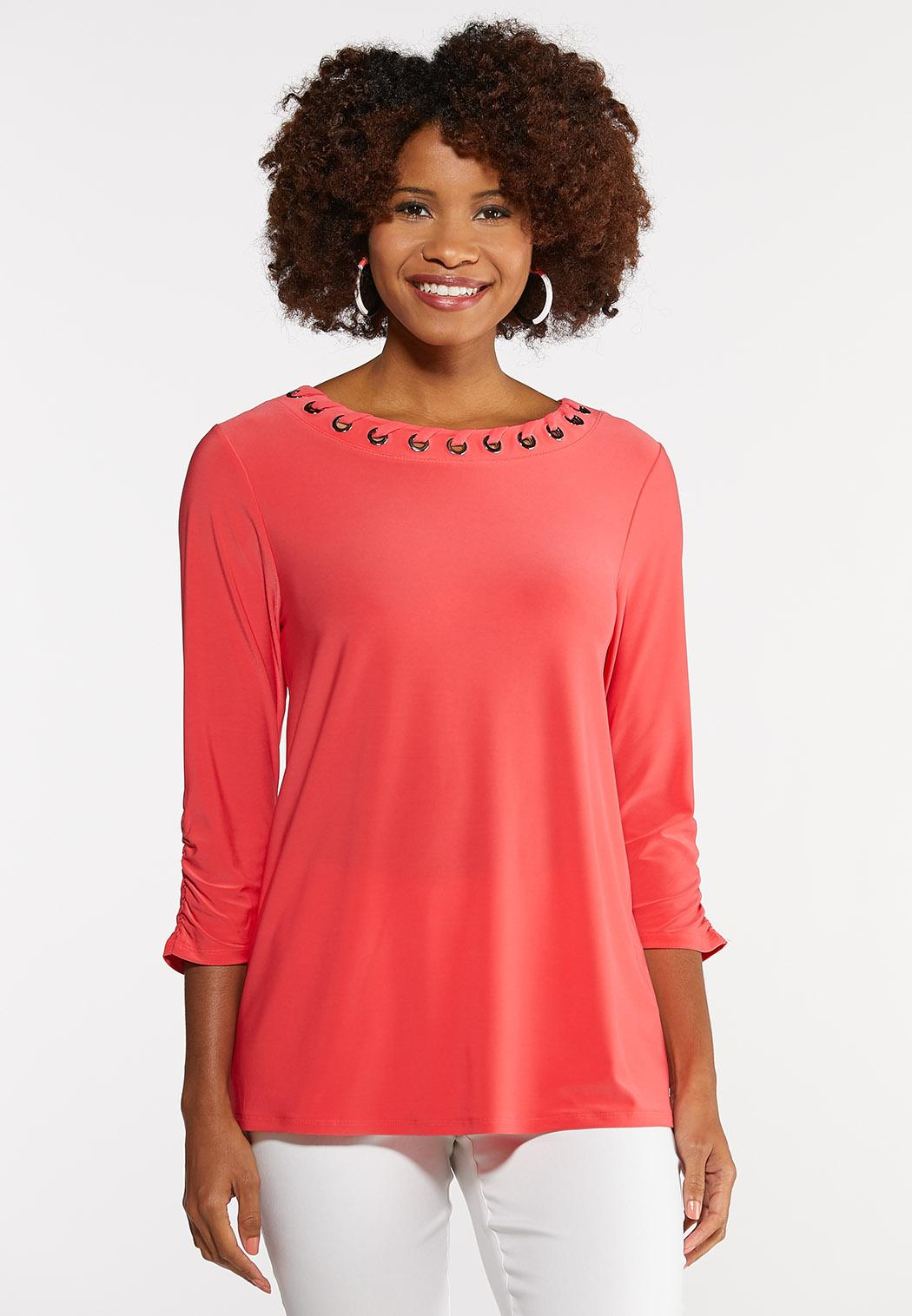 Plus Size Grommet Ruched Sleeve Top