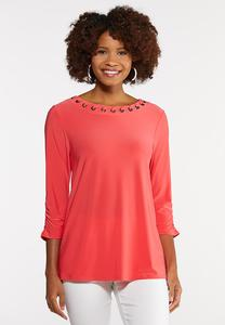 Grommet Ruched Sleeve Top